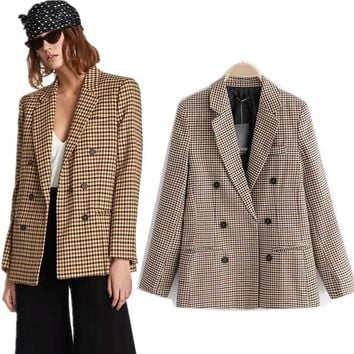 COZARII 2018 Autumn And Winter casaco feminino pioneer england style double pioneer plaid women bomber pioneer jacket plus size