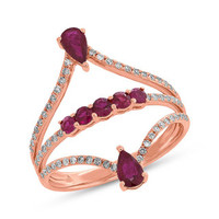 0.24ct Diamond & 0.77ct Ruby 14k Rose Gold Ring
