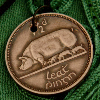Ireland, Coin Pendant,  Necklace, Irish, Half Penny,  Pig and Piglets