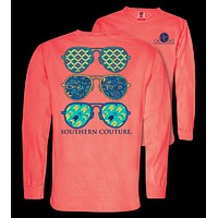 Southern Couture Preppy Wild Aviators Comfort Colors Long Sleeve T-Shirt
