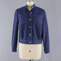 Vintage 1970s Dark Chambray Denim Jacket / Country Suburban Miss