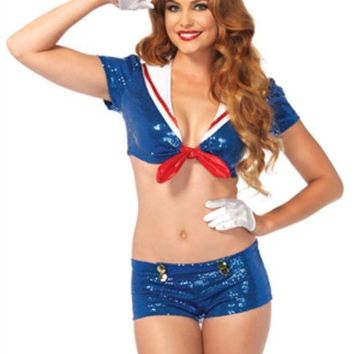 3pc.sequin Sailor Tie Top W/anchor Accents  Booty Shorts Hat In Blue/white