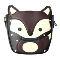 Adorable Fox Wolf Shaped Animal Themed Cross Body Shoulder Bag for Women in Dark Brown
