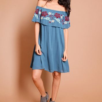 Be Still Embroidered Off-Shoulder Dress | Threadsence