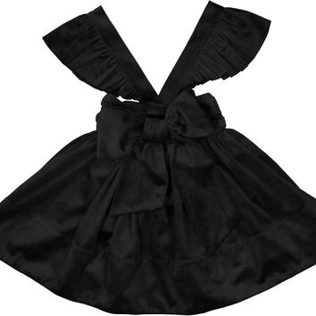 Carbon Soldier Girls' Black FRESIAN Velvet SKIRT