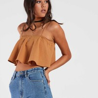 Just A Girl One Frill Crop - Camel