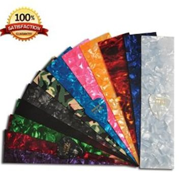DIY Guitar Pick Punch Sheets - 15 Pcs - Musicians Recommended Light, Medium and Heavy Celluloid Guitar Pick Strips - 12 Stunning Colors to Create Customized Guitar Picks with Any Picks Maker