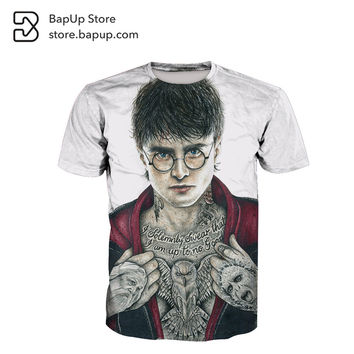 BapUp 2017 Summer Harry Potter Hogwarts School of Witchcraft and Wizardry Print O-Neck Sleeve Boy Girl Hip Hop 3D Anime T Shirts
