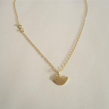 Gold bird necklace with tiny infinity  charm, infinity necklace, bird charm