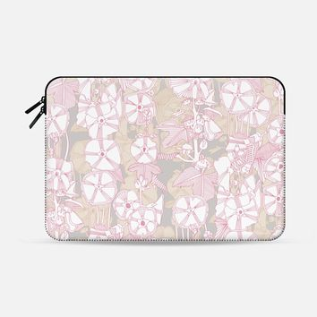 "romantic hollyhock Macbook Pro 13"" sleeve by Sharon Turner 