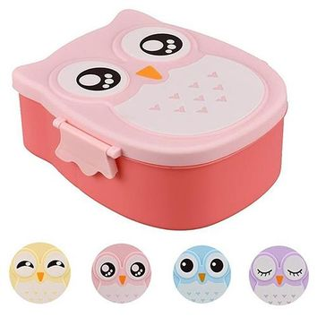 Cute Owl Shape Plastic Food Storage Container Portable Bento Box