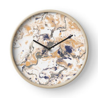 'Brown and white marble texture. ' Clock by kakapostudio