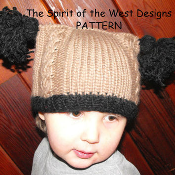 Easy Baby Cable Hat - Knitting Pattern, Toque, Cabled Hat with Tassels, Babies, toddler, wool hat beanie, tassels pompom baby hat headwarmer
