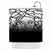 "Just L ""Versus Spray Blk"" Urban Abstract Shower Curtain"