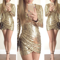 Gold Deep V Long Sleeve Sequined Bodycon Wrap Mini Dress