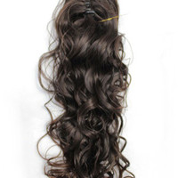 Dark Brown Curly Long Hair Wig Cap