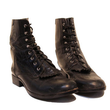 Black Kiltie Lacer Boots - Leather Ankle Ariat Combat Boots - Women Size 8 / 39