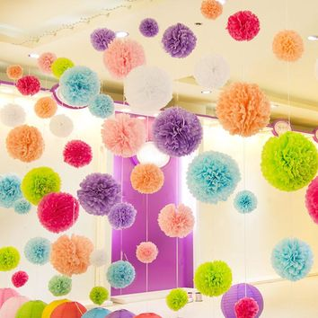 """Diy Multi Colour 4"""" 6"""" 8"""" mixed Sizes 15pcs Paper Flowers Ball Wedding Home Birthday Party Car Decoration Tissue Paper Pom Poms"""