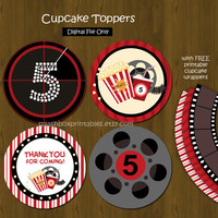 Movie Night Printable Cupcake toppers with Free Cupcake Wrappers
