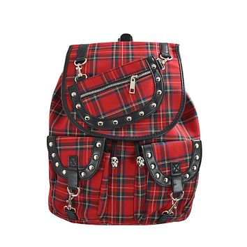 London Red Tartan Plaid Checked Drawstring Rucksack Backpack
