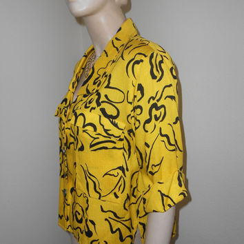 1980's Yellow/Black, 3/4 Sleeves, Blouse/Jacket w/Padded Shoulders - Size M-L