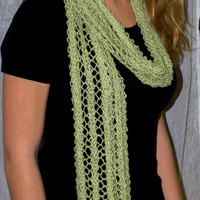 Long Lace Scarf Green Silk, Wool, Angora Blend 72 inches x 8 inches