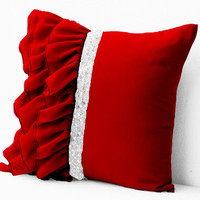 20% OFF Sale Elegant Red ruffled sequin throw pillow - 16X16  Decorative Pillow - Red cushion cover - Gift Pillow