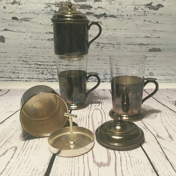 Single Cup Coffee Makers . Silver Plated . Coffee Drip o Lator . One Cup Coffee Filter . Vintage Drip-O-Lator . Dripolator . Coffee Makers .