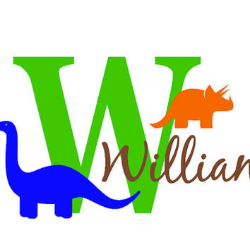 Boys Name Initial Dinosaur Decal