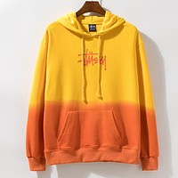 Stussy Newest Women Men Casual Print Color Matching Long Sleeve Hoodie Sweater Sweatshirt Yellow&Orange