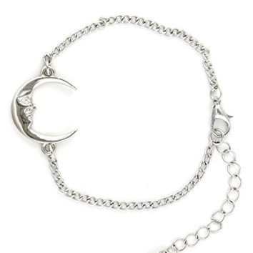 Crescent Moon Bracelet Silver Tone BE40 Man in the Moon Chain Bangle Fashion Jewelry