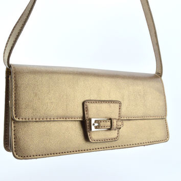 Liz Claiborne Gold Clutch Purse with Silver Buckle Mirror & Zipper
