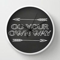 Go Your Own Way Print Wall Clock by Livin' Freely | Society6