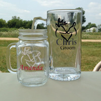 Bride and groom wedding set buck and doe beer mug and mason jar set