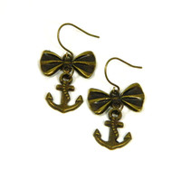 Anchor Earrings - Nautical Earrings - Anchor Jewelry Black Friday Cyber Monday Free Shipping US Stocking Stuffer