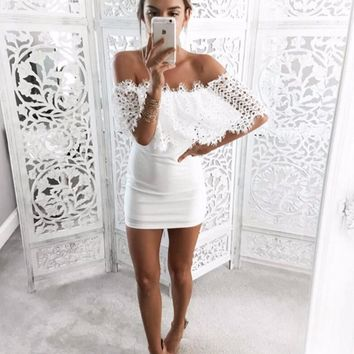 Lace Lotus Sleeve Strapless Dress