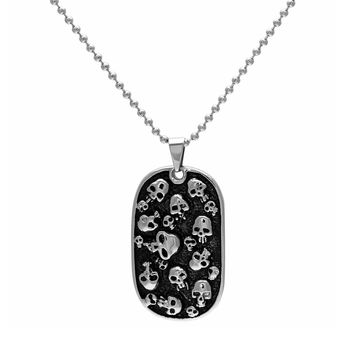 Stainless Steel & Black Ion-Plated Stainless Steel Skull Dog Tag Necklace