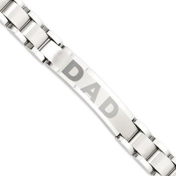 Men's Stainless Steel DAD I.D. Bracelet, 8.75 Inch