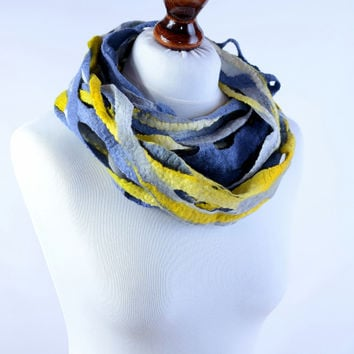 Felt infinity scarf in yellow, gray and blue - natural, light and airy open weave scarf - felted wool loop scarf [IF21]