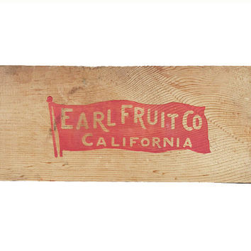 Earl Fruit Sign / Vintage Signage / Original Wooden Crate End / Rustic, Weathered Vintage Advertising / Foodie Decor / Kitchen Display Piece