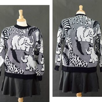 Ugly 80s Sweater, Novelty Print Sweater, Black & White Pullover, Elephant Print Sweater, Animal Print Sweater, Size S/M, Arielle Sweater