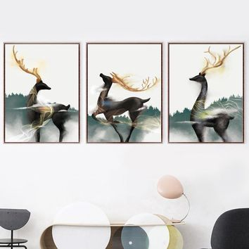 Watercolor Deity Deer Wall Art Canvas Painting Nordic Poster And Prints Animal Wall Pictures For Living Room Bedroom Home Decor