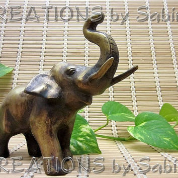 Vintage Brass Elephant Figurine Collectible by CREATIONSbySabine