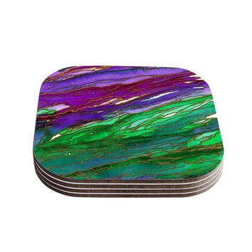 "Ebi Emporium ""Agate Magic - Lime Purple"" Green Lavender Coasters (Set of 4)"