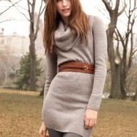 Wholesale High Collar Pullover Cardigan Grey
