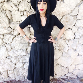 Vintage 80s Black Witchy Goth Corset Style Fitted Handkerchief Midi Length Dress S // M