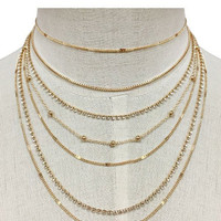 "13.50"" crystal multi layered chain choker necklace .25"" earrings"