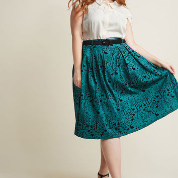Hell Bunny Storybook Shadows Midi Skirt in Teal
