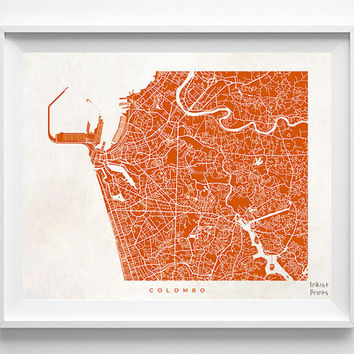 Colombo Map, Sri Lanka Print, Colombo Poster, Sri Lanka Poster, Map Print, Map Decor, Baby Room Decor, Room Wall Art, Halloween Decor