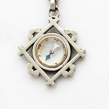 Antique Pocket Watch Chain with Compass